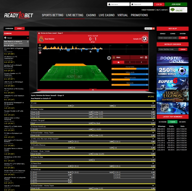 Readytobet Live Betting Screen