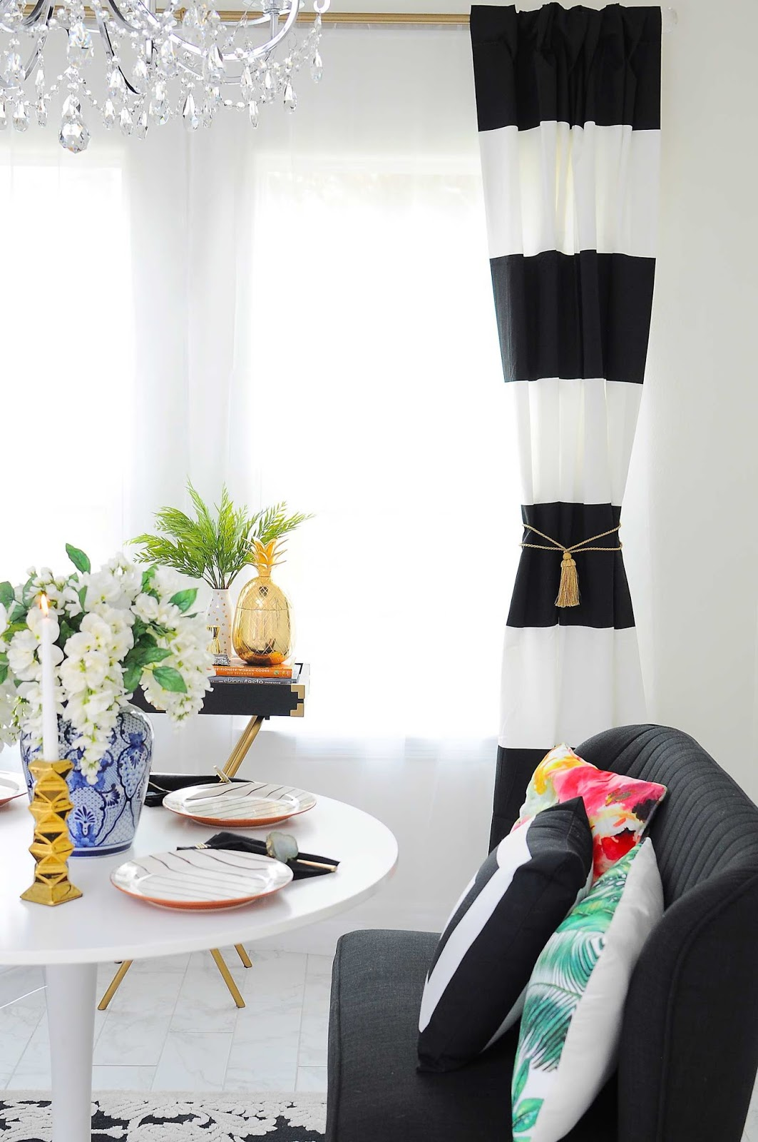 $100 Black, White & Botanical Dining Room Reveal | Monica Wants It