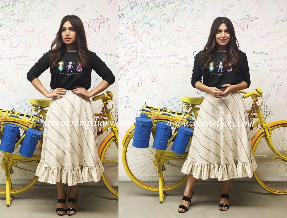 Bhumi Pednekar was seen wearing The Meraki Project superwoman top and ruffle skirt for the promotions of her movie 'Shubh Mangal Savdhaan'