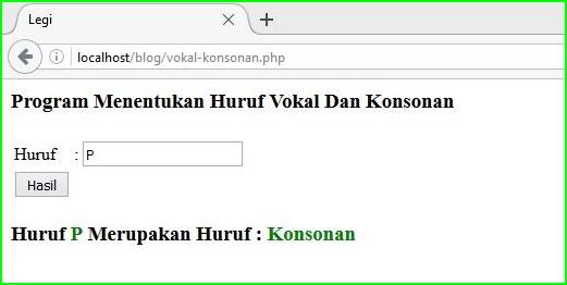 Program Menentukan Huruf Vokal dan Konsonan menggunakan PHP