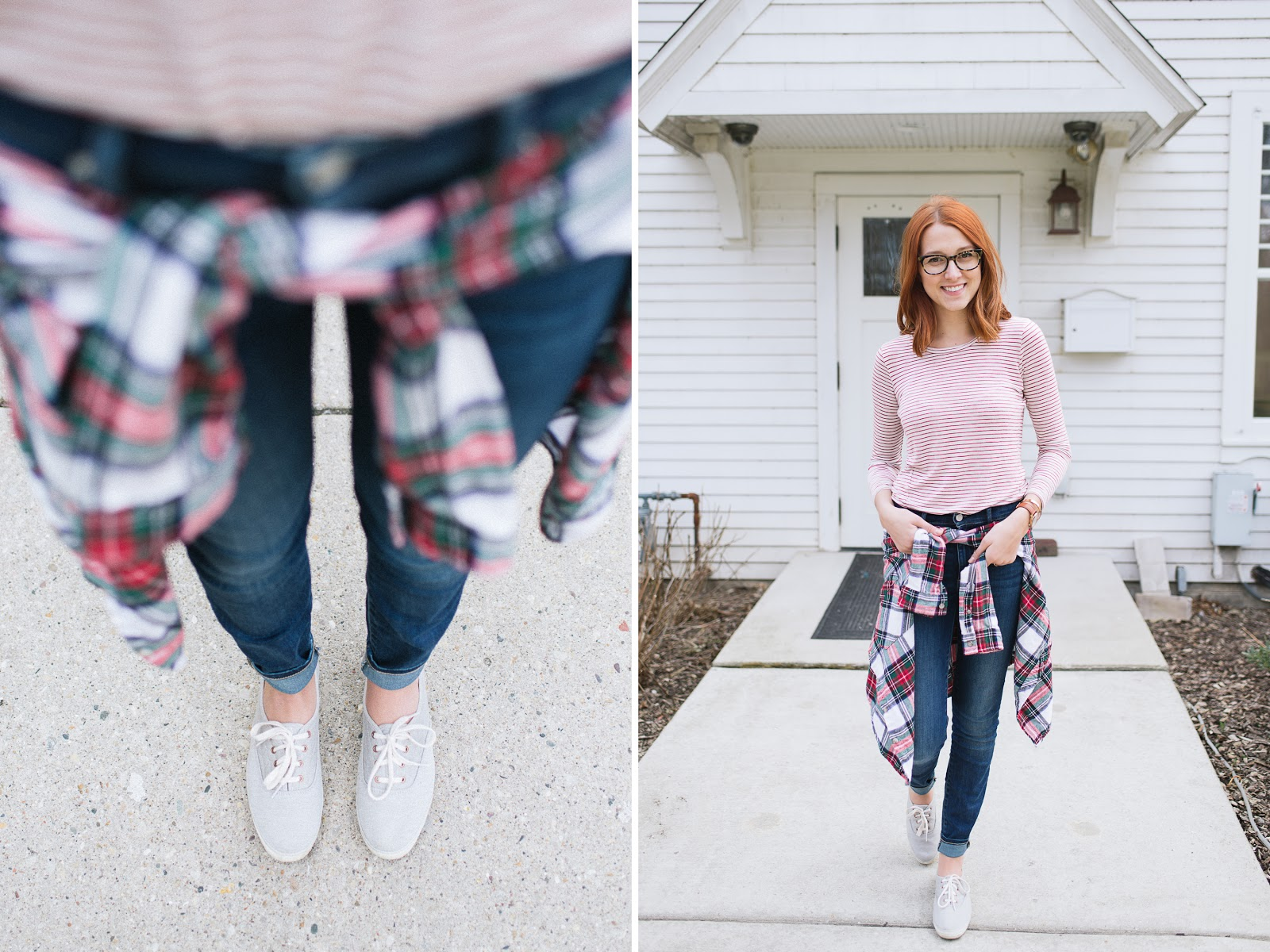 Beautyosuaurs Lex-Alex Good-Style Blog-Madewell Anthem-Gap True Resolution Skinny Jeans-Keds-Urban Outfitters Flannel-Nixon Rose Gold Kensington-Spring-Gus-1.jpg