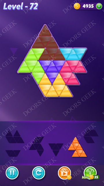 Block! Triangle Puzzle Intermediate Level 72 Solution, Cheats, Walkthrough for Android, iPhone, iPad and iPod