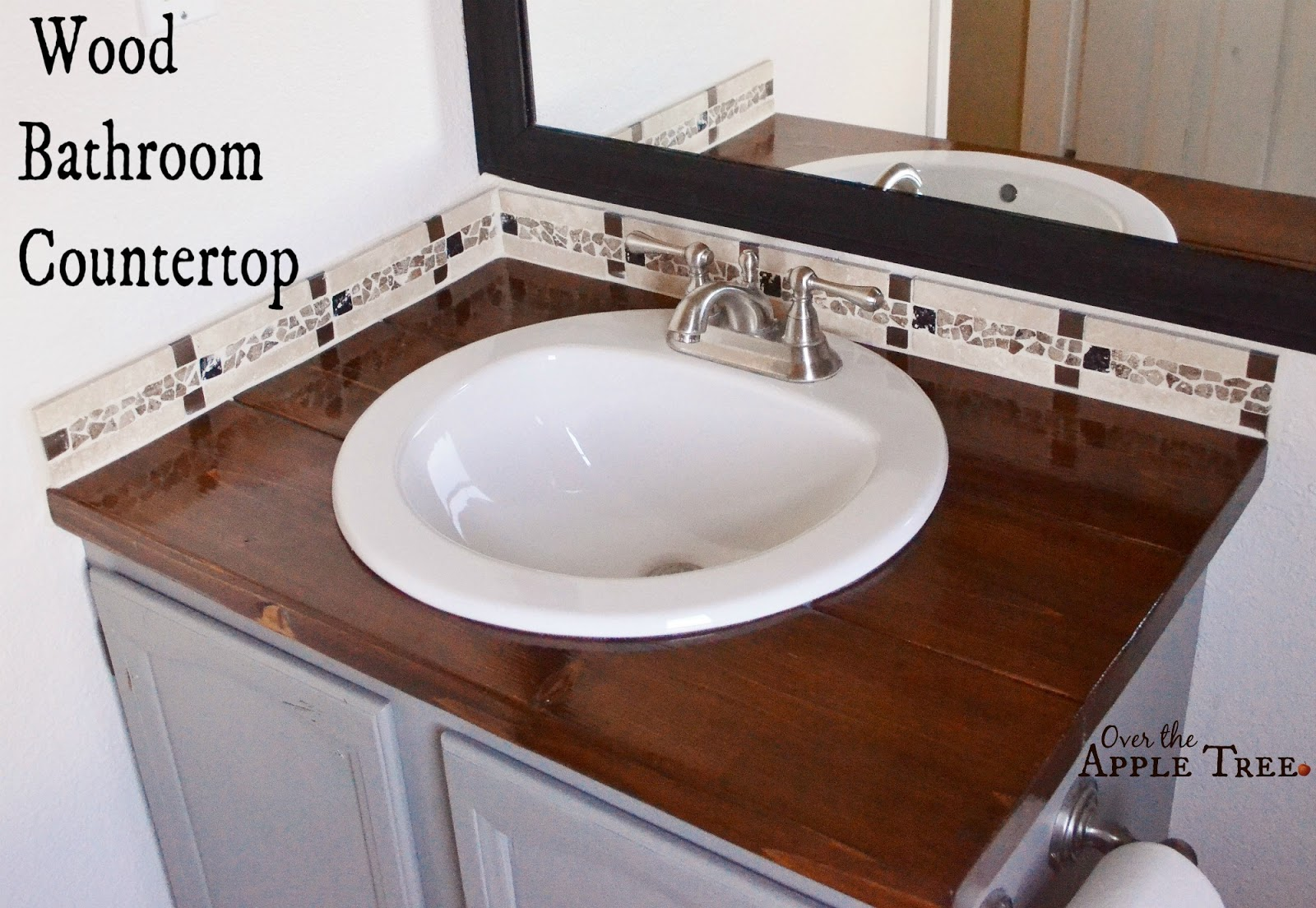 DIY Wood Bathroom Countertop, Over The Apple Tree