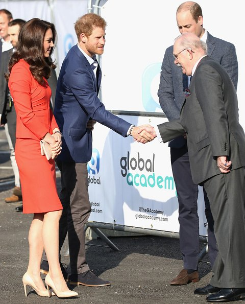 Kate Middleton wore Armani Collezioni Skirt Suit, Rupert Sanderson Malory Pumps and carried ETUI Clutch Bag for Global Academy opening