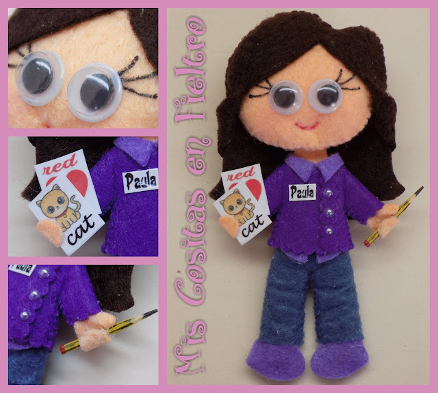 broche de fieltro, broche en fieltro, fieltro broche, broche, fieltro, felt, regalo, pin, Monigota, muñeca de fieltro, felt doll, teacher doll, mestra, maestra, profesora, profesora de fieltro, maestra de fieltro, inglés, teacher, english