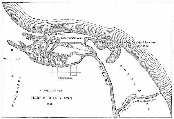 Map of the border between Nicaragua and Costa Rica at the Caribbean mouth of the San Juan River as decided by the 1897 Alexander award, including prior claims by each country. Includes Harbor Head Lagoon, the Taura Branch of the San Juan River, and the island now known as Isla Portillos.