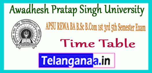 APSU REWA Awadhesh Pratap Singh University UG 1st 3rd 5th Semester Time Table