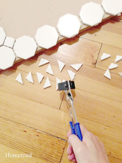 Cutting tiles to create a DIY wall planter