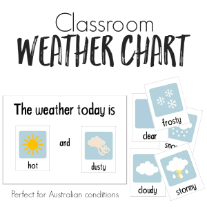 Printable Classroom Weather Chart - made for Australian weather conditions | you clever monkey