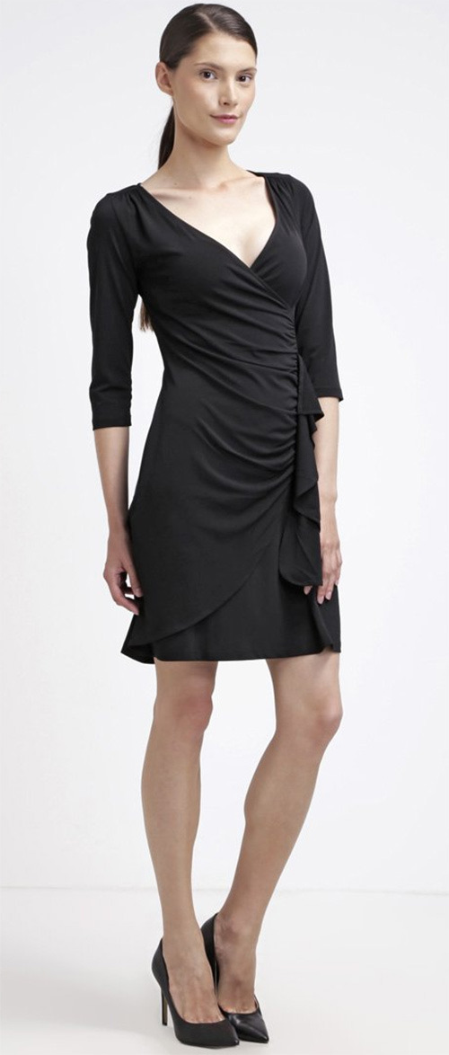Robe courte noire manches longues manches ¾ Anna Field