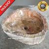 Wastafel fosil kayu asli batu alam tulungagung model natural diameter 35 cm