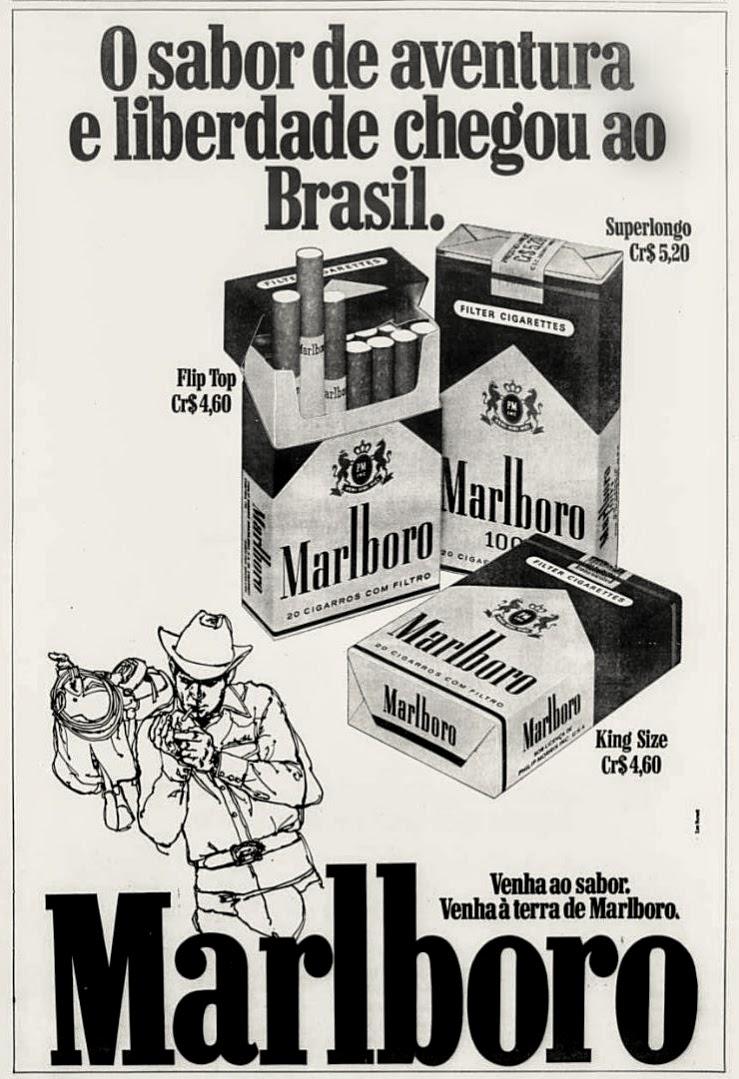 Propaganda de lançamento dos Cigarros Marlboro no mercado brasileiro na década de 70