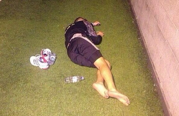 Liverpool youngster Samed Yesil caught sleeping during pre-season training