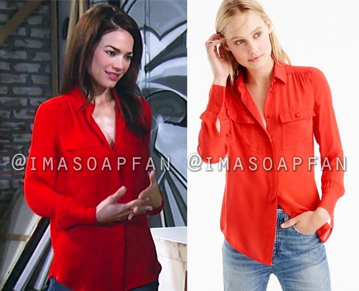 Brand new Elizabeth Webber's Red Silk Shirt - General Hospital, Season 55  RJ51