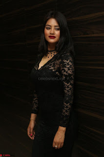 Actress Monica in spicy transparent Black Top at O Pilla Nee Valla Movie Audio Launch Feb 2017 051.JPG