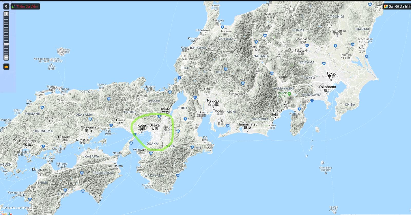 Vị trí thành phố Osaka