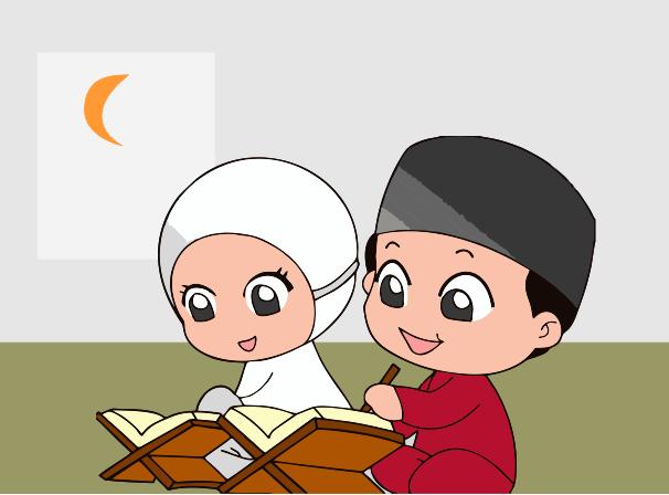 Download Kartun Anak SD Belajar Mengaji  Guru Corel