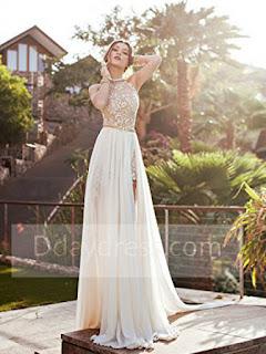 Risultati immagini per long cream prom dress