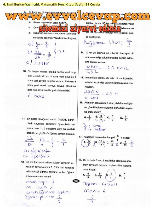 6 Sinif Matematik Berkay Cevaplari Sayfa 187 230 Arasi Dkc
