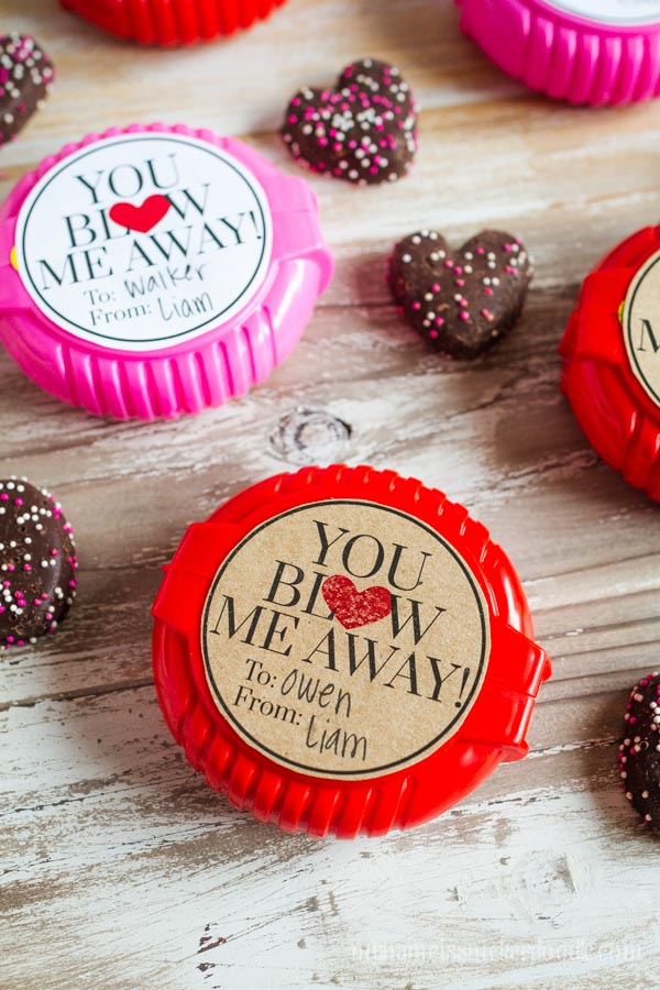 Free Valentine Printable!  'You Blow Me Away' is perfect to add on top of bubble gum tape, a bottle of bubbles or a few balloons!  |  mynameissnickerdoodle.com