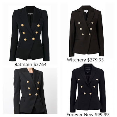 Balmain Double Breasted Blazer Military Forever New Libby Blazer Witchery Double Button look for less budget fashion high end high street designer dupe