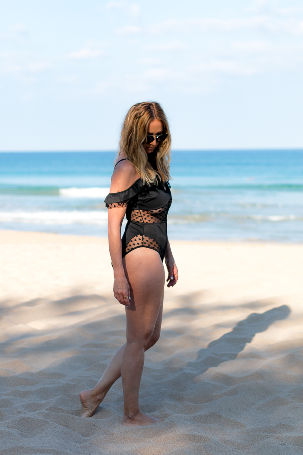 black off shoulder swimsuit