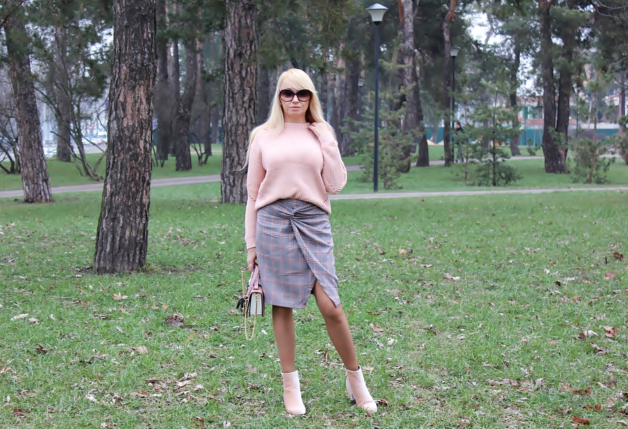 ROSEGAL Haul: Twist Checked Pencil Skirt & Apricot Sweater. Юбка-карандаш и вязаный свитер / обзор, отзывы, фото