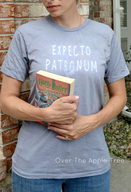 Harry Potter Spell Shirt. Easy project using Elmers glue and Rit dye. Over The Apple Tree
