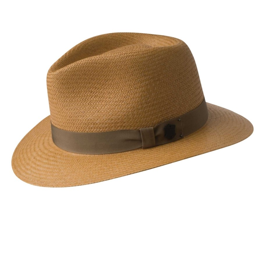The Brooks hat from Bailey sports a hand woven Cuenca weave pattern and  protects you from those harmful UV rays from the Summer sun. It s 100%  genuine straw ... 7028bef26be