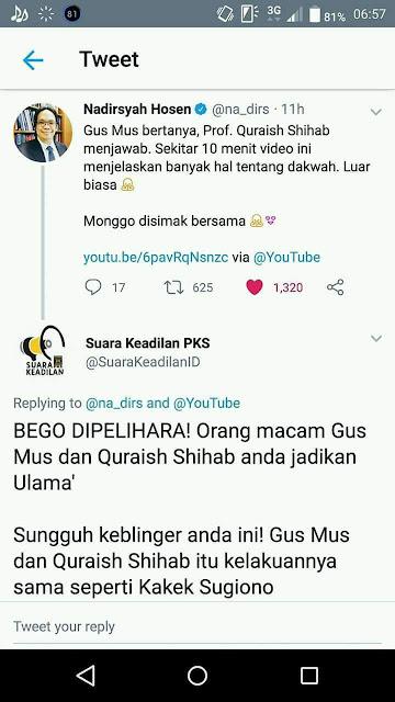 Parah! Akun PKS Anggap Gus Mus dan Quraish Shihab Sama Seperti Kakek Sugiono