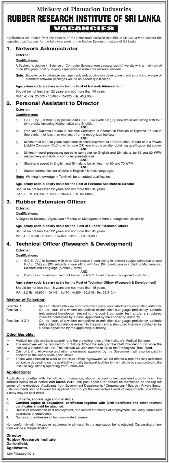 Vacancies - Network Administrator, Personal Assistant to Director, Rubber Extention Officer, Technical Officer (Research & Development) - Rubber Research Institute of Sri Lanka - Ministry of Plantation Industries