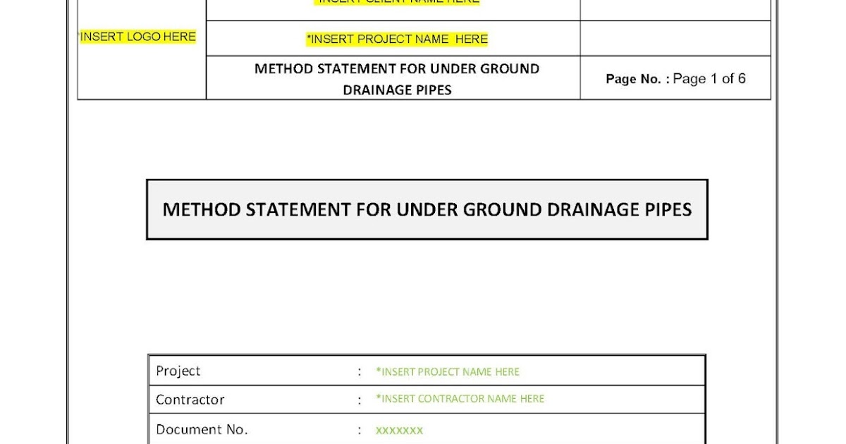 Your Document References: Method Statement for Underground Drainage ...