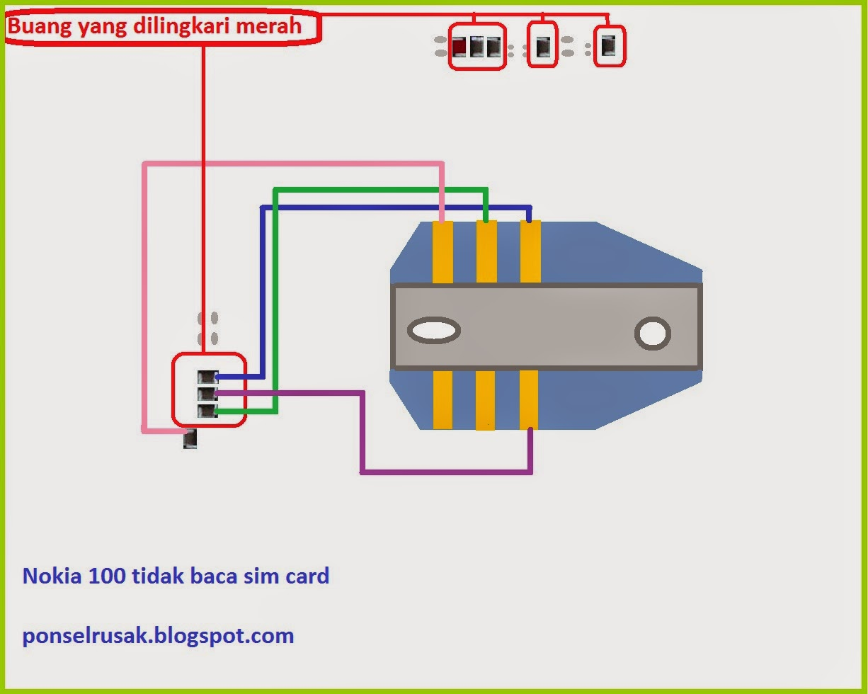 Nokia sim card solution 100 line jumper scheme through the sim card.