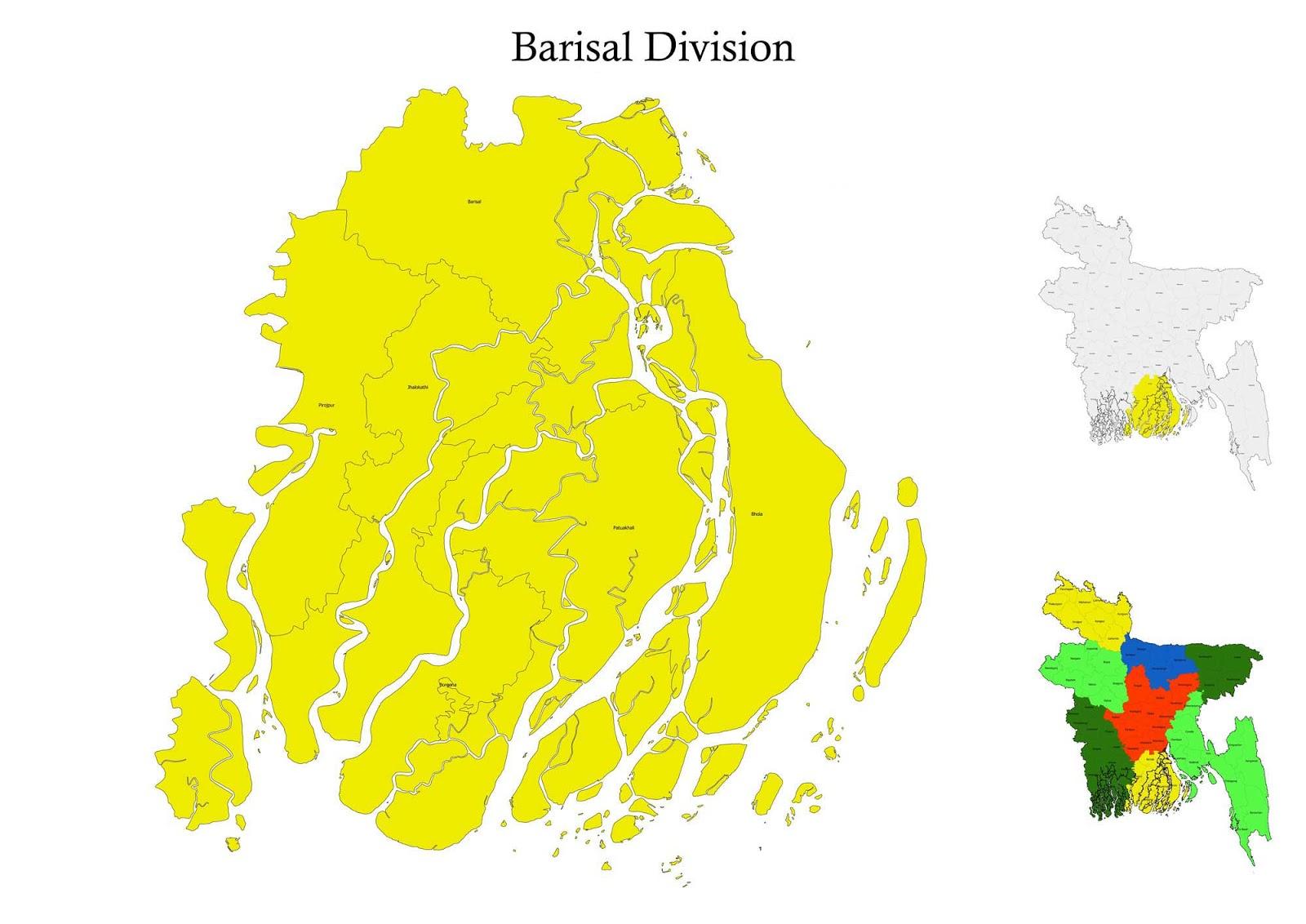 Barisal Division Map Bangladesh