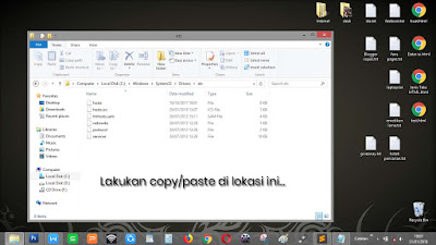 Lokasi penempatan file hosts pada OS Windows (7/8/10) xp