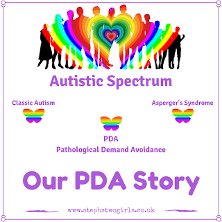 Our PDA Story logo - rainbow people and butterflies