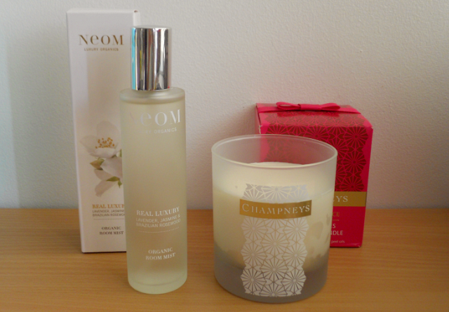 Neom real luxury organic room spray, Champneys distant shores fragranced candle