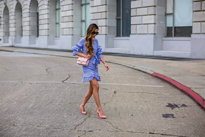 shein ruffles and bow dress, ruffles and bow dress, date night dress, prada sunglasses, baublebar crispin drop earrings, chanel rectangular classic mini flap bag, christian louboutin pumps, pastel outfit ideas, spring outfit ideas