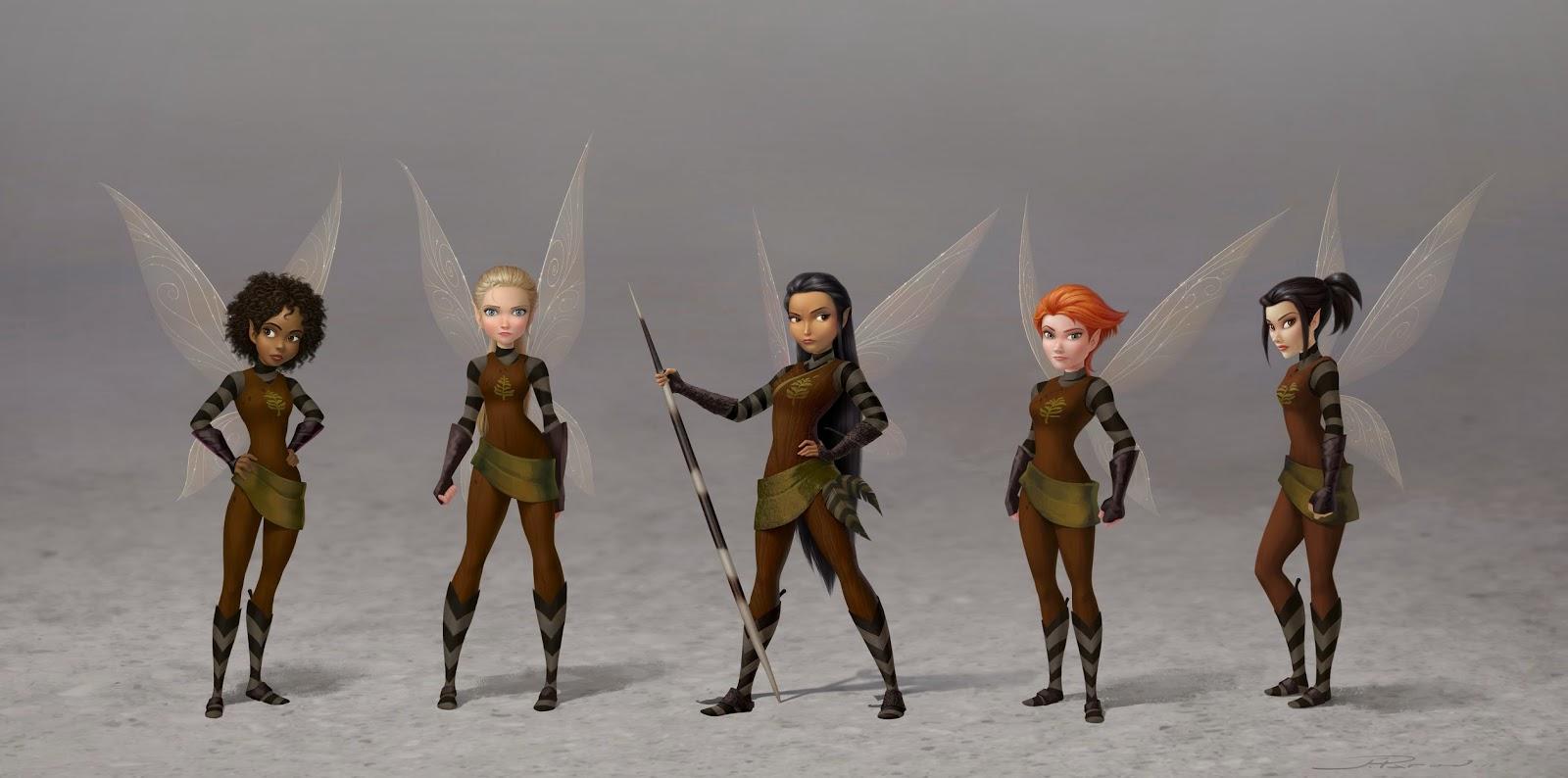 Les 5 fées éclaireuses posent en uniforme.