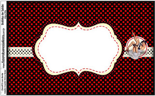 Pin Up in Black with Red Polka Dots Free Printable Candy Bar Labels.