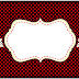 Pin Up in Black with Red Polka Dots: Free Printable Candy Bar Labels.