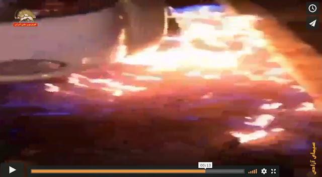 آتش زدن خودروی گشت سرکوبگر شهرداری رژیم در شیراز