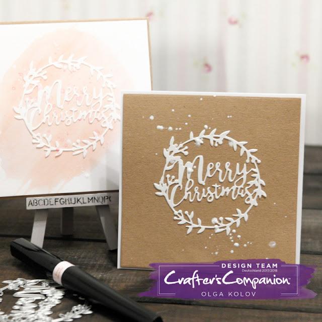 @olgakolov @crafterscompde #christmas #card #cleanandsimple #sparkles #kraft