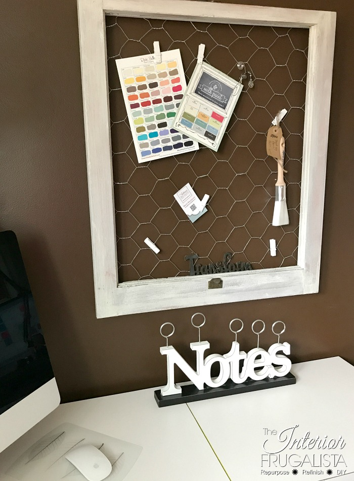 Repurposed Vintage Window Chicken Wire Note Board