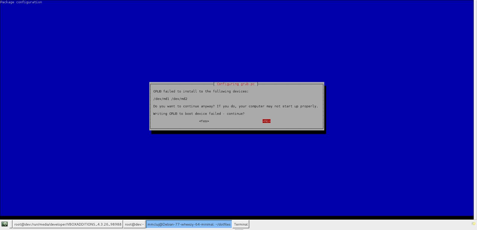 GRUB install error on /dev/mda1 and /dev/mda2 when upgrading Debian from Wheezy to Jessie