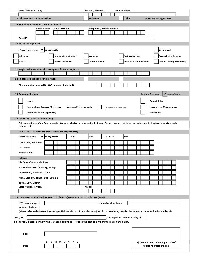 pan card online apply form pdf