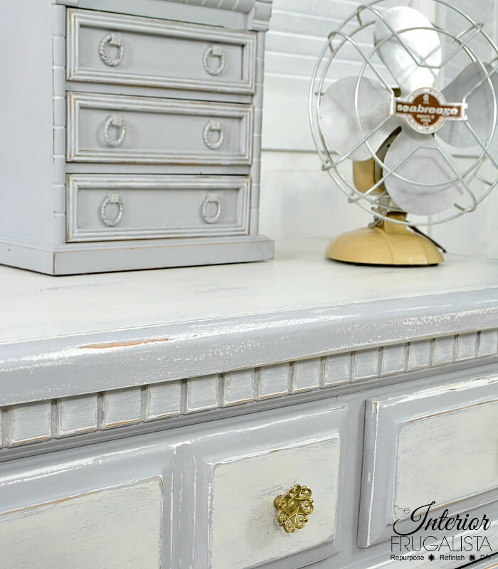 Farmhouse Dresser White Distressed Top Coat