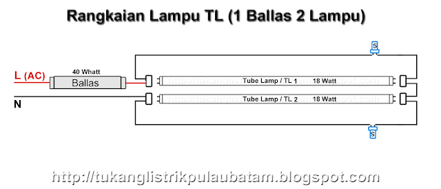 Diagram rangkaian lampu tl double 1 ballas (2 lampu 1 ballas)