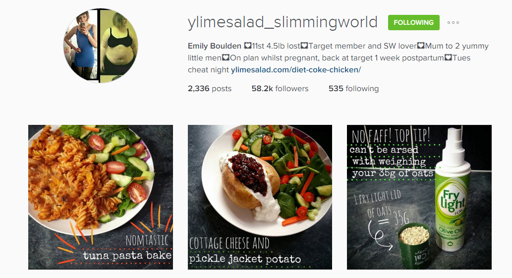 Kizzy Hearts Slimming World Sunday Inspirational Instagram Accounts