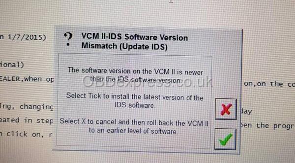 Error message in update IDS 109